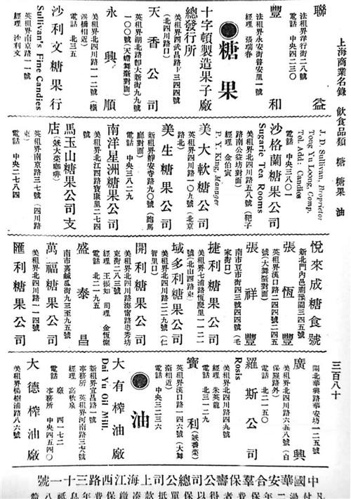 民国9年(1920年),《上海商业名录》登记糖果类企业21家,其中11家开设在虹口美租届.jpg